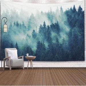 Forest Retro Hipster Style Landscape Tapestry